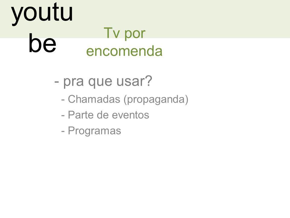 youtu be - pra que usar? Tv por encomenda - Chamadas (propaganda) - Parte de eventos - Programas