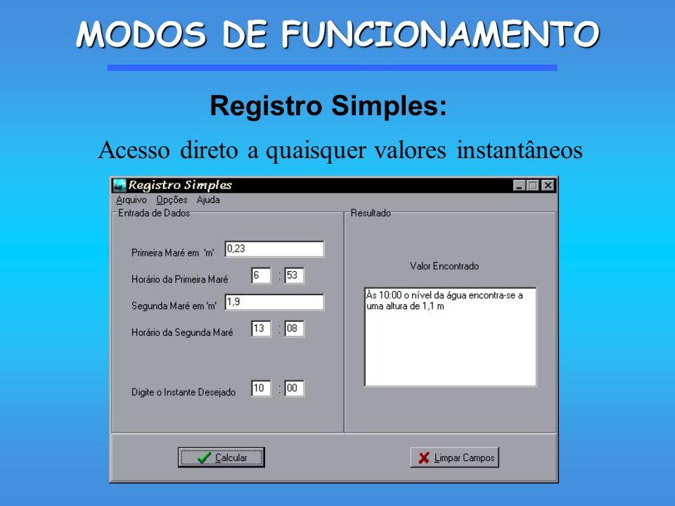 MODOS DE FUNCIONAMENTO Acesso direto a quaisquer valores instantâneos Registro Simples: