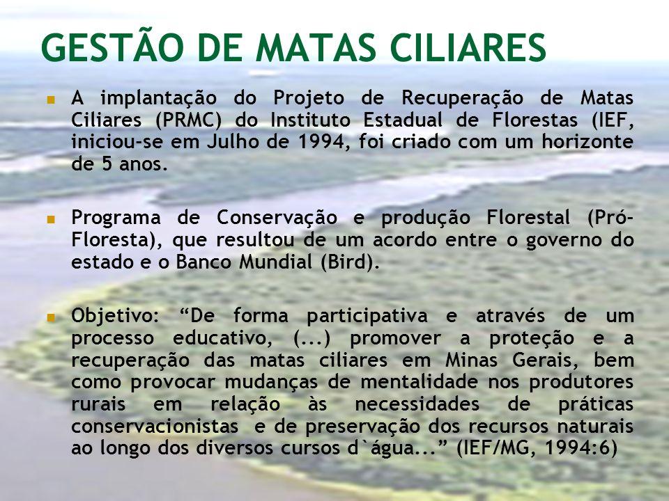 GESTÃO DE MATAS CILIARES A implantação do Projeto de Recuperação de Matas Ciliares (PRMC) do Instituto Estadual de Florestas (IEF, iniciou-se em Julho