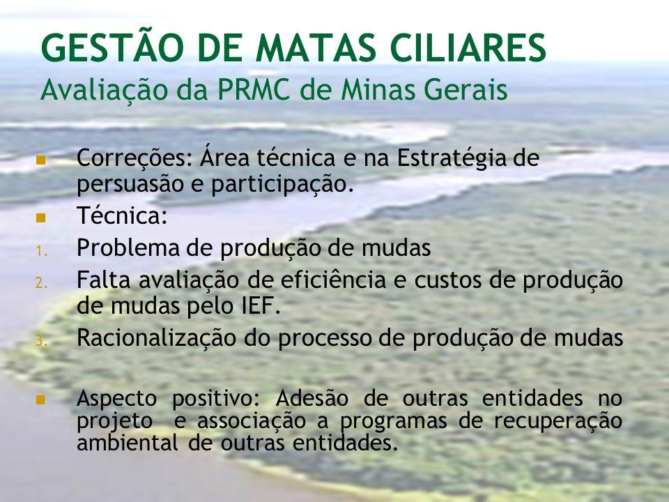 GESTÃO DE MATAS CILIARES Avaliação da PRMC de Minas Gerais Correções: Área técnica e na Estratégia de persuasão e participação. Técnica: 1. Problema d