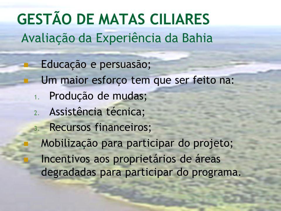 GESTÃO DE MATAS CILIARES Avaliação da Experiência da Bahia Educação e persuasão; Um maior esforço tem que ser feito na: 1. Produção de mudas; 2. Assis