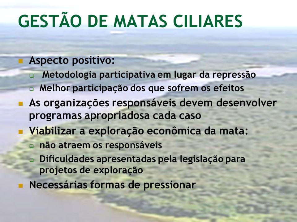 GESTÃO DE MATAS CILIARES Aspecto positivo: Metodologia participativa em lugar da repressão Melhor participação dos que sofrem os efeitos As organizaçõ