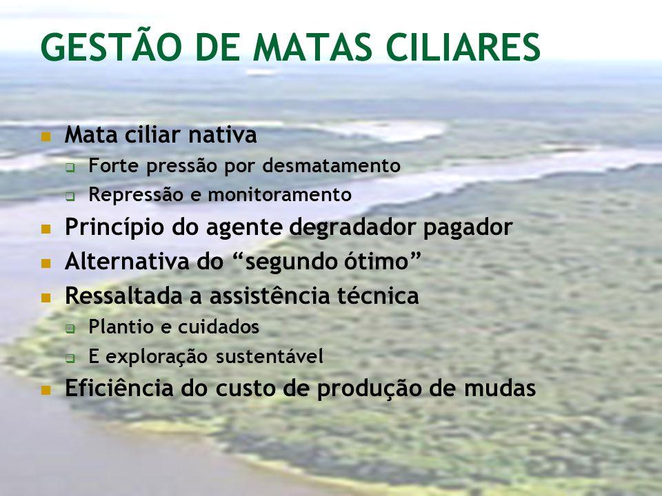 GESTÃO DE MATAS CILIARES Mata ciliar nativa Forte pressão por desmatamento Repressão e monitoramento Princípio do agente degradador pagador Alternativ