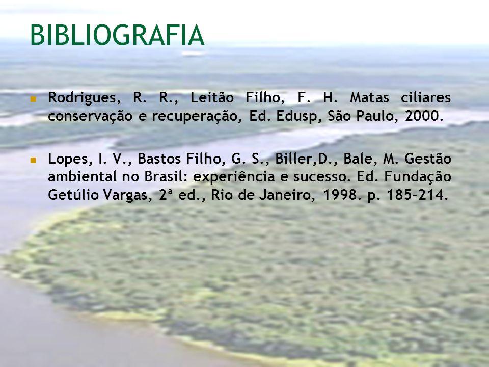 BIBLIOGRAFIA Rodrigues, R. R., Leitão Filho, F. H. Matas ciliares conservação e recuperação, Ed. Edusp, São Paulo, 2000. Lopes, I. V., Bastos Filho, G