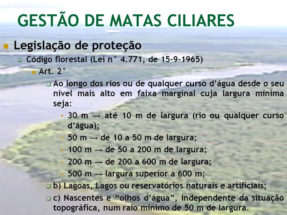 GESTÃO DE MATAS CILIARES Legislação de proteção Código florestal (Lei n° 4.771, de 15-9-1965) Art. 2° Ao longo dos rios ou de qualquer curso dágua des