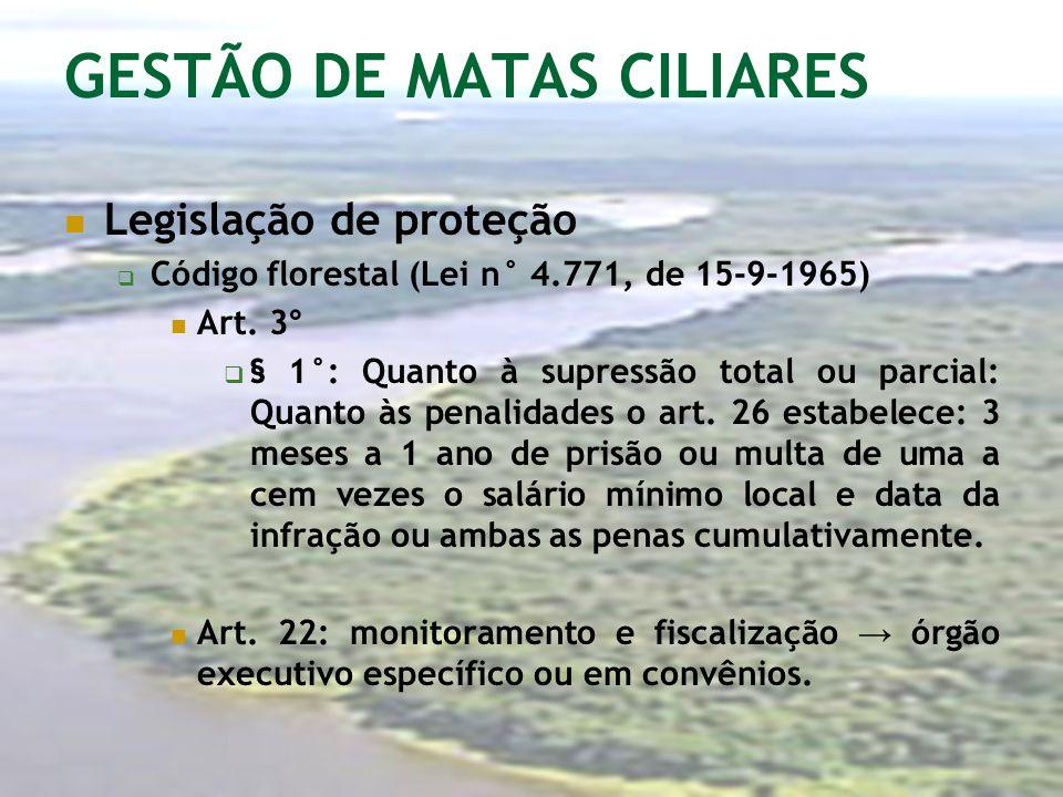 GESTÃO DE MATAS CILIARES Legislação de proteção Código florestal (Lei n° 4.771, de 15-9-1965) Art. 3° § 1°: Quanto à supressão total ou parcial: Quant