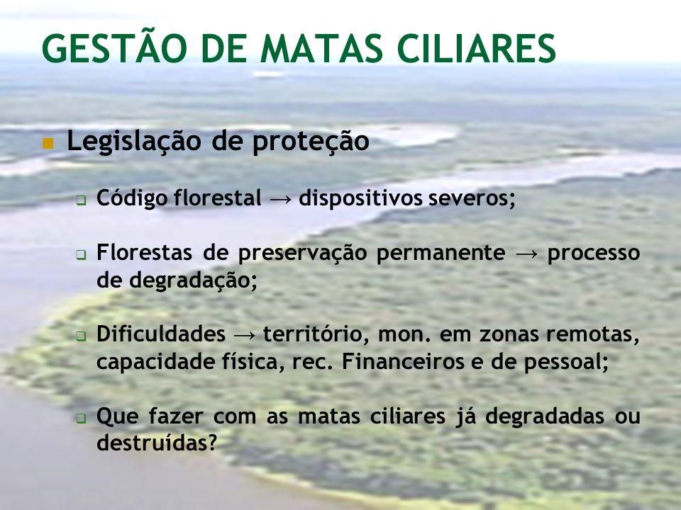 GESTÃO DE MATAS CILIARES Legislação de proteção Código florestal dispositivos severos; Florestas de preservação permanente processo de degradação; Dif