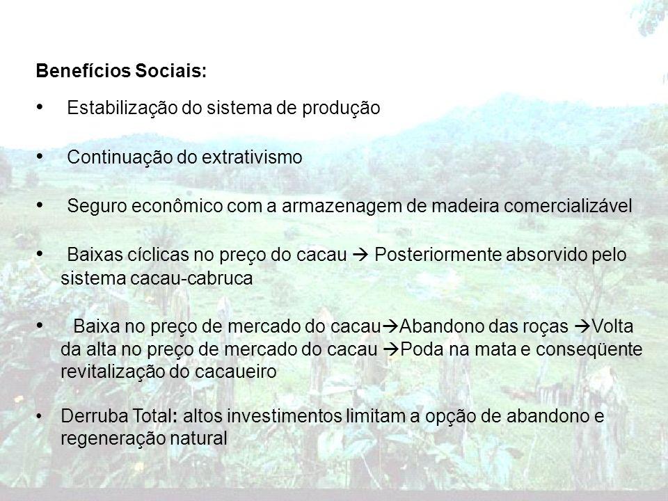 Benefícios Sociais: Estabilização do sistema de produção Continuação do extrativismo Seguro econômico com a armazenagem de madeira comercializável Bai