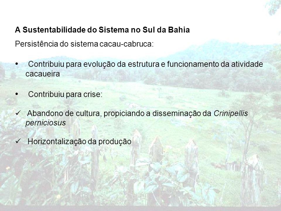 A Sustentabilidade do Sistema no Sul da Bahia Persistência do sistema cacau-cabruca: Contribuiu para evolução da estrutura e funcionamento da atividad