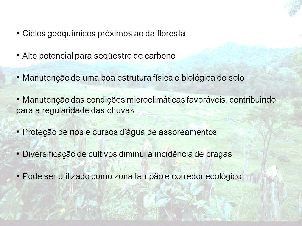 Ciclos geoquímicos próximos ao da floresta Alto potencial para seqüestro de carbono Manutenção de uma boa estrutura física e biológica do solo Manuten