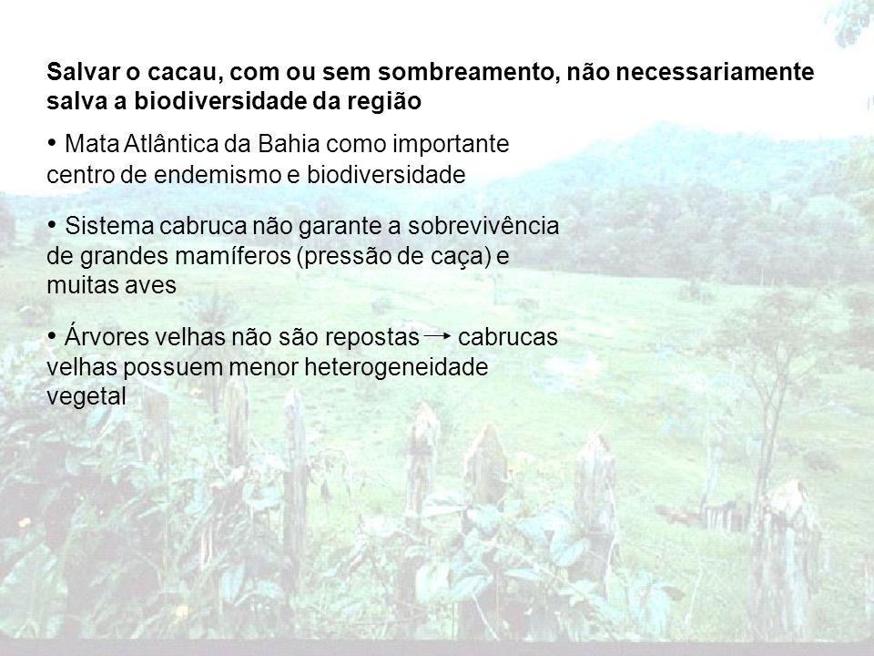 Mata Atlântica da Bahia como importante centro de endemismo e biodiversidade Sistema cabruca não garante a sobrevivência de grandes mamíferos (pressão
