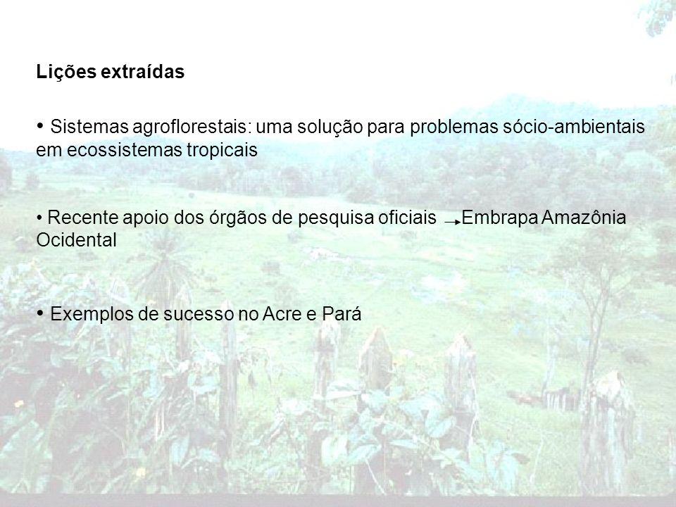 Lições extraídas Sistemas agroflorestais: uma solução para problemas sócio-ambientais em ecossistemas tropicais Recente apoio dos órgãos de pesquisa o