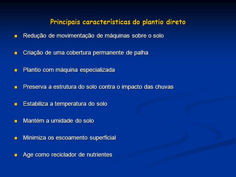 Principais características do plantio direto Redução de movimentação de máquinas sobre o solo Redução de movimentação de máquinas sobre o solo Criação