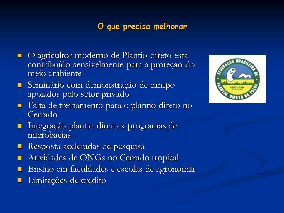 O que precisa melhorar O agricultor moderno de Plantio direto esta contribuído sensivelmente para a proteção do meio ambiente O agricultor moderno de
