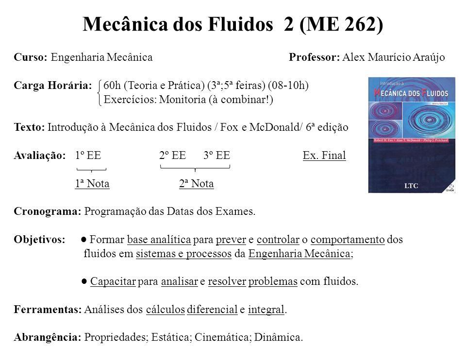 Mecânica dos Fluidos 2 (ME 262) Curso: Engenharia Mecânica Professor: Alex Maurício Araújo Carga Horária: 60h (Teoria e Prática) (3ª;5ª feiras) (08-10