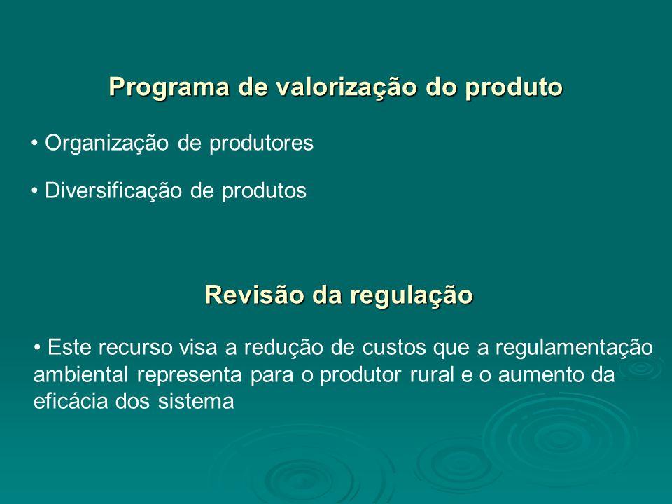 Programa de valorização do produto Organização de produtores Diversificação de produtos Revisão da regulação Este recurso visa a redução de custos que a regulamentação ambiental representa para o produtor rural e o aumento da eficácia dos sistema