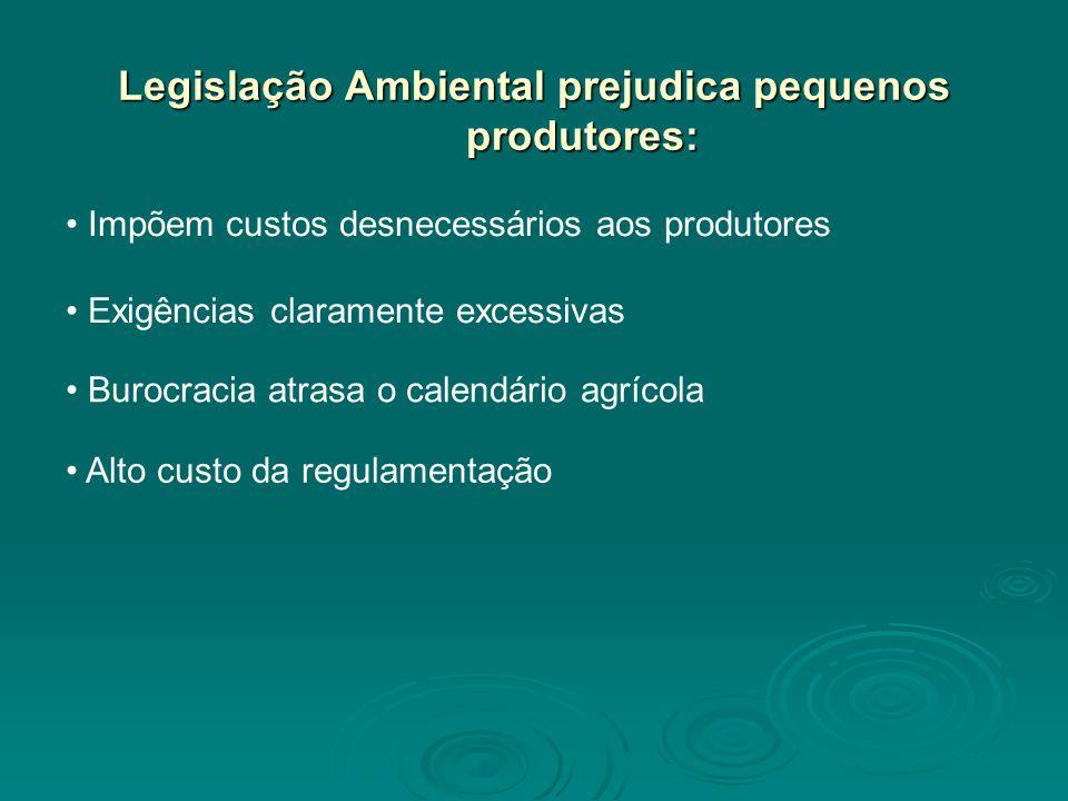 Legislação Ambiental prejudica pequenos produtores: Impõem custos desnecessários aos produtores Alto custo da regulamentação Exigências claramente excessivas Burocracia atrasa o calendário agrícola