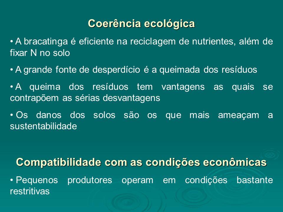 Coerência ecológica A bracatinga é eficiente na reciclagem de nutrientes, além de fixar N no solo A grande fonte de desperdício é a queimada dos resíduos A queima dos resíduos tem vantagens as quais se contrapõem as sérias desvantagens Os danos dos solos são os que mais ameaçam a sustentabilidade Compatibilidade com as condições econômicas Pequenos produtores operam em condições bastante restritivas