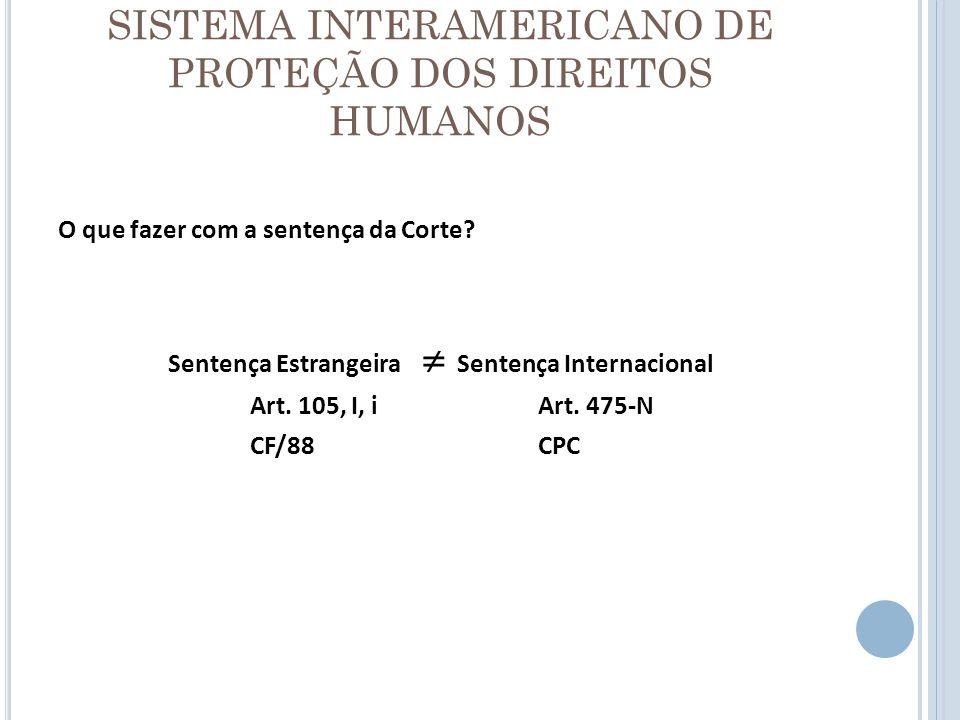 SISTEMA INTERAMERICANO DE PROTEÇÃO DOS DIREITOS HUMANOS O que fazer com a sentença da Corte? Sentença Estrangeira Sentença Internacional Art. 105, I,