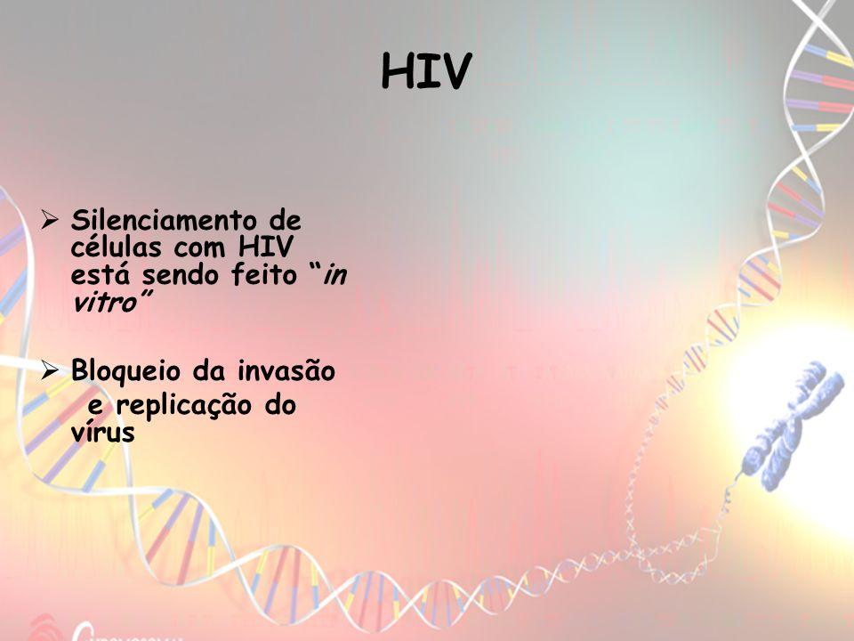 HIV Silenciamento de células com HIV está sendo feito in vitro Bloqueio da invasão e replicação do vírus