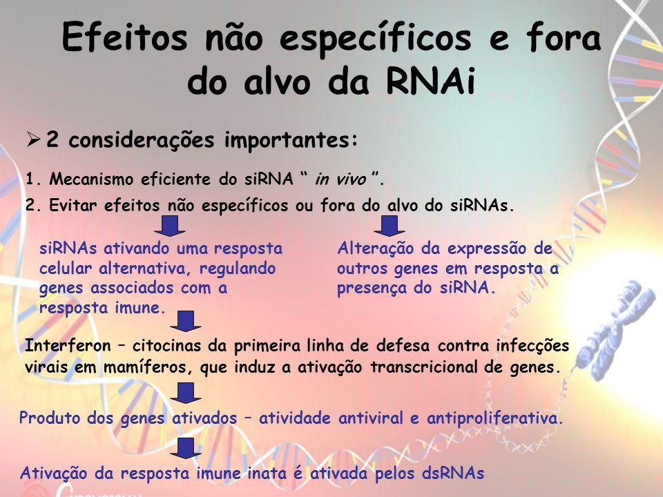 Efeitos não específicos e fora do alvo da RNAi 1. Mecanismo eficiente do siRNA in vivo. 2. Evitar efeitos não específicos ou fora do alvo do siRNAs. s