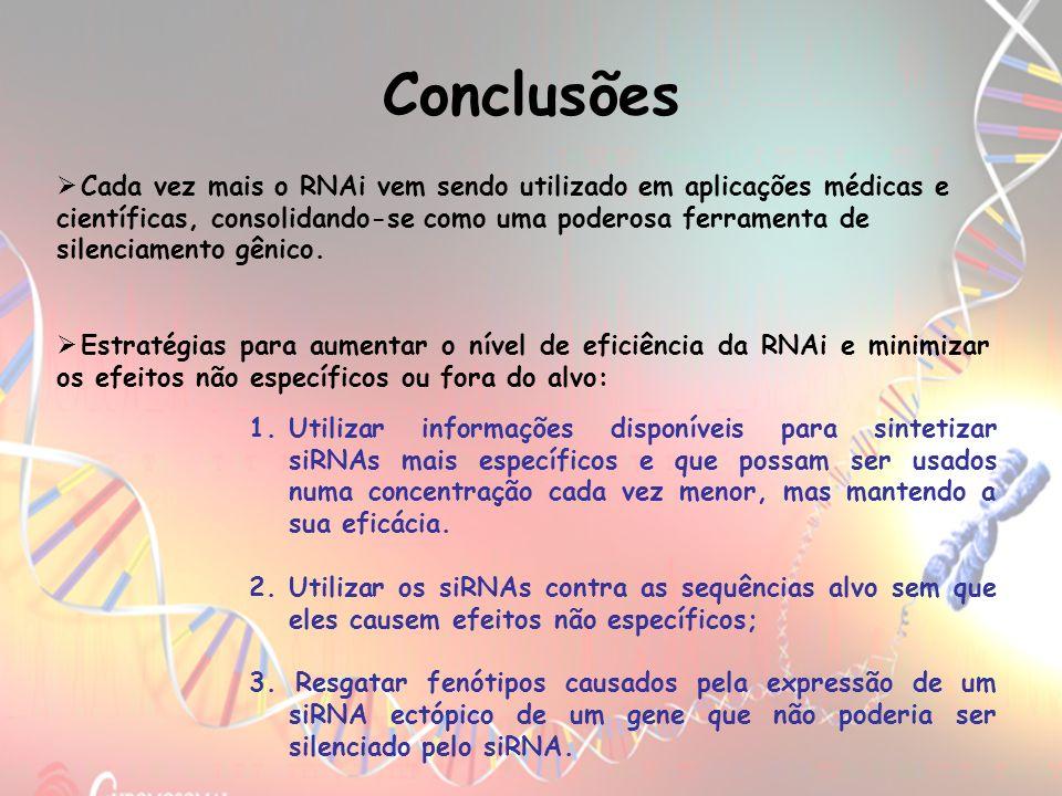 Conclusões Estratégias para aumentar o nível de eficiência da RNAi e minimizar os efeitos não específicos ou fora do alvo: 1.Utilizar informações disp