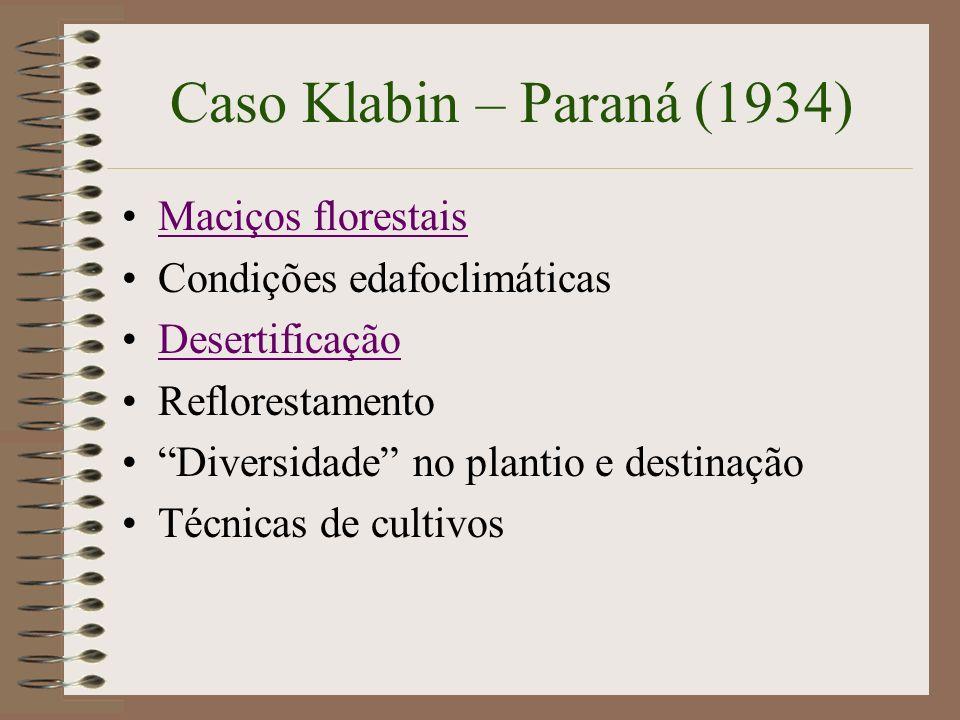 Caso Klabin – Paraná (1934) Maciços florestais Condições edafoclimáticas Desertificação Reflorestamento Diversidade no plantio e destinação Técnicas d