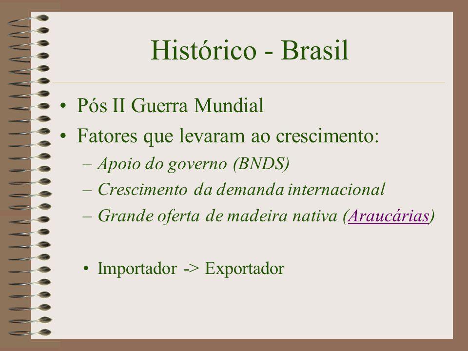Histórico - Brasil Pós II Guerra Mundial Fatores que levaram ao crescimento: –Apoio do governo (BNDS) –Crescimento da demanda internacional –Grande of