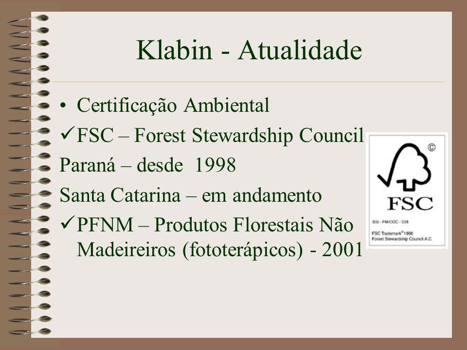 Klabin - Atualidade Certificação Ambiental FSC – Forest Stewardship Council Paraná – desde 1998 Santa Catarina – em andamento PFNM – Produtos Floresta