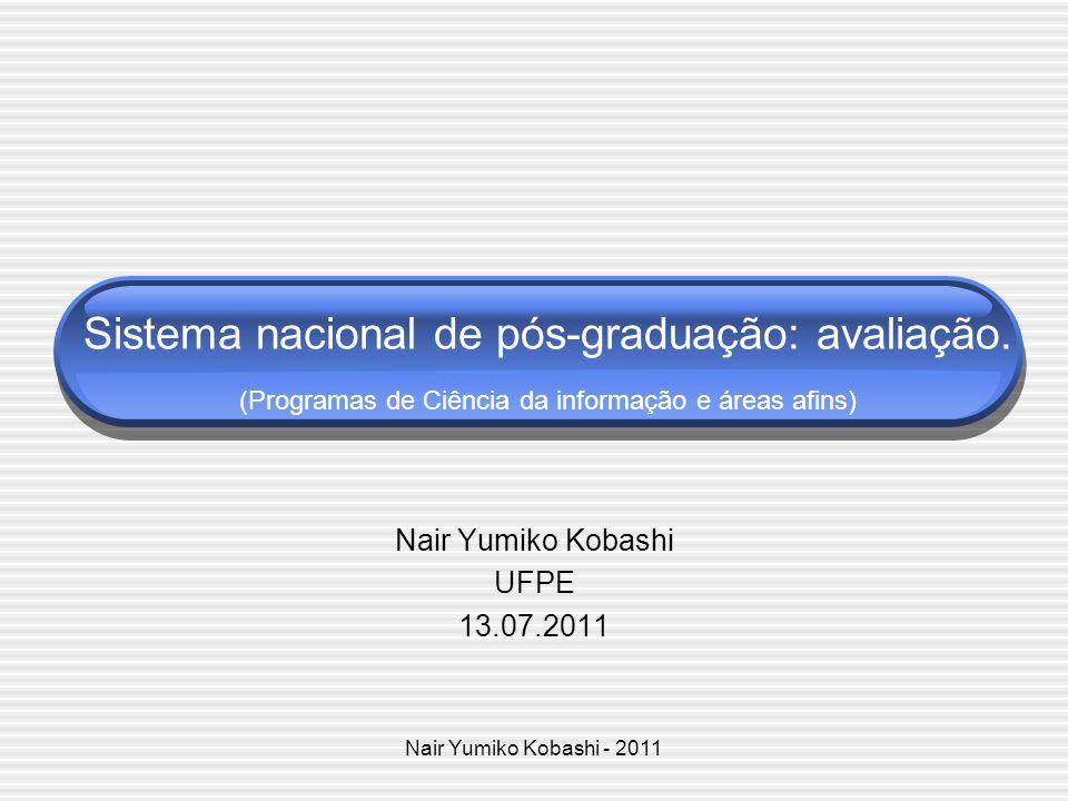 Nair Yumiko Kobashi - 2011 Sumário Sistema de avaliação Capes Cursos de Pós-graduação Institucionalização cognitiva e social da CI Parâmetros de avaliação 2