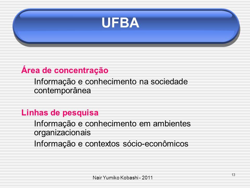 Nair Yumiko Kobashi - 2011 UFF Área de concentração Dimensões contemporâneas da informação e do conhecimento Linhas de pesquisa Informação, cultura e sociedade Fluxos e mediações sócio-técnicas da informação 14