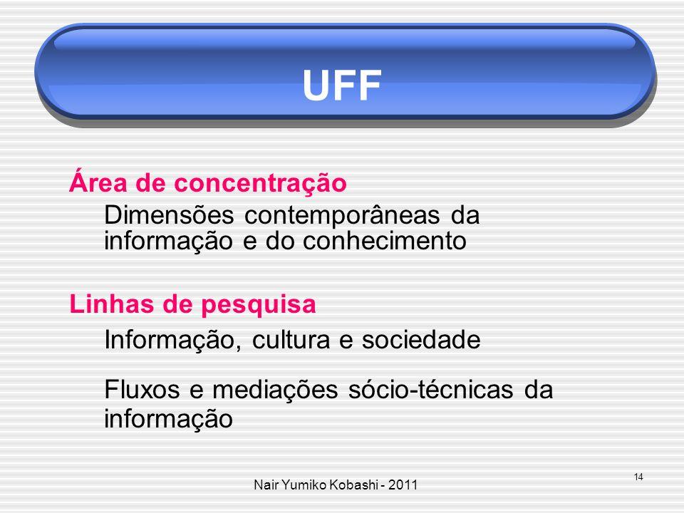 Nair Yumiko Kobashi - 2011 UFF Área de concentração Dimensões contemporâneas da informação e do conhecimento Linhas de pesquisa Informação, cultura e