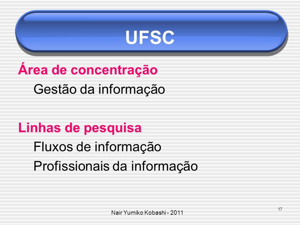 Nair Yumiko Kobashi - 2011 UFSC Área de concentração Gestão da informação Linhas de pesquisa Fluxos de informação Profissionais da informação 17