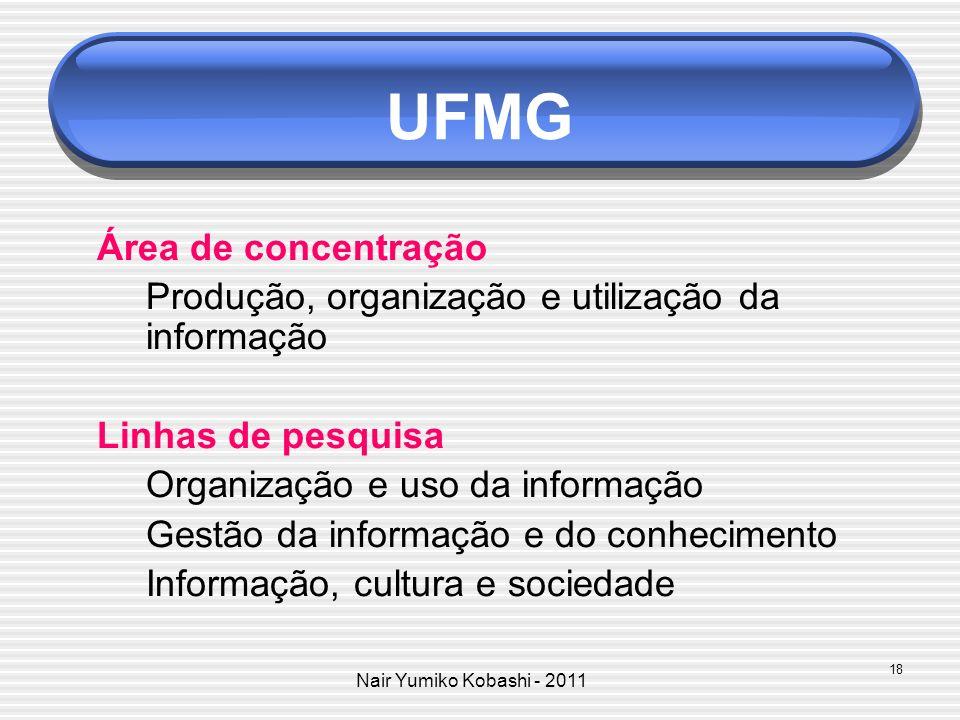 Nair Yumiko Kobashi - 2011 UFMG Área de concentração Produção, organização e utilização da informação Linhas de pesquisa Organização e uso da informaç