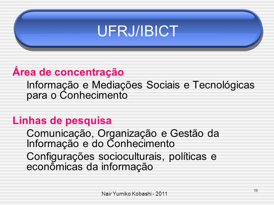 Nair Yumiko Kobashi - 2011 UFRJ/IBICT Área de concentração Informação e Mediações Sociais e Tecnológicas para o Conhecimento Linhas de pesquisa Comuni