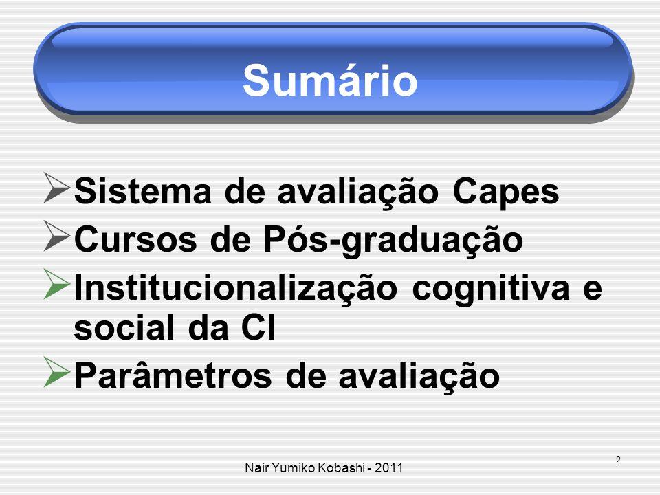 Nair Yumiko Kobashi - 2011 Sumário Sistema de avaliação Capes Cursos de Pós-graduação Institucionalização cognitiva e social da CI Parâmetros de avali