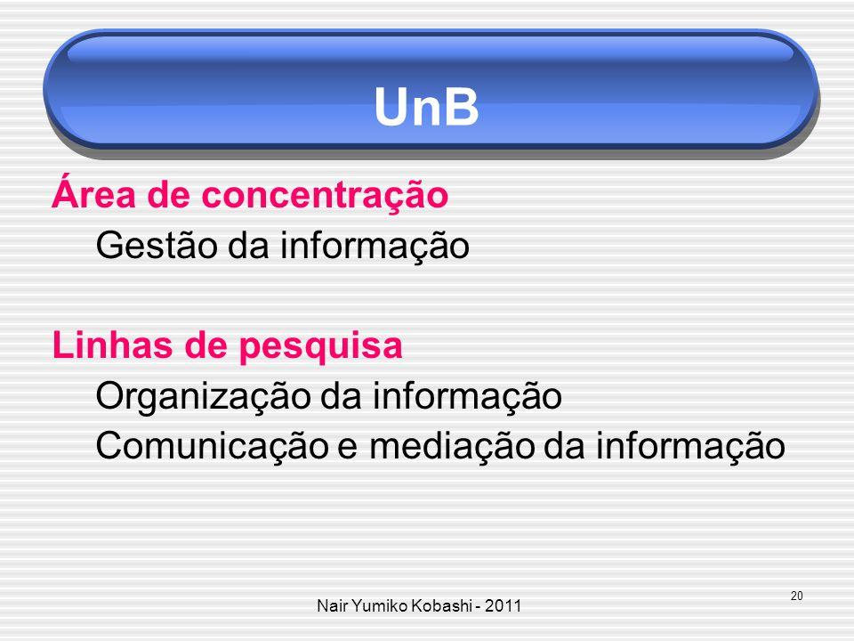 Nair Yumiko Kobashi - 2011 UnB Área de concentração Gestão da informação Linhas de pesquisa Organização da informação Comunicação e mediação da inform