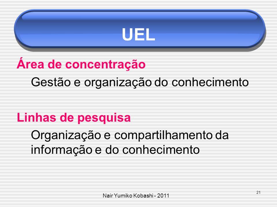 Nair Yumiko Kobashi - 2011 UEL Área de concentração Gestão e organização do conhecimento Linhas de pesquisa Organização e compartilhamento da informaç