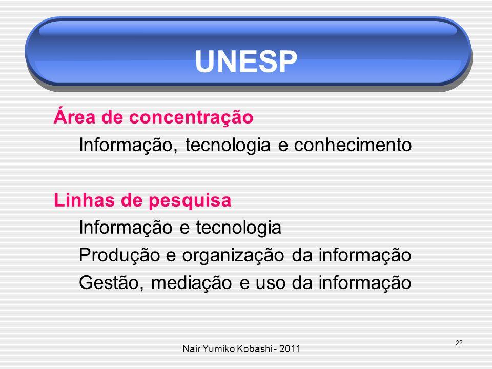 Nair Yumiko Kobashi - 2011 UNESP Área de concentração Informação, tecnologia e conhecimento Linhas de pesquisa Informação e tecnologia Produção e orga