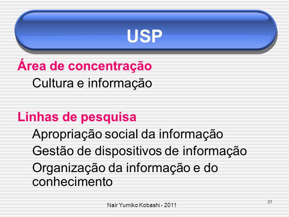 Nair Yumiko Kobashi - 2011 USP Área de concentração Cultura e informação Linhas de pesquisa Apropriação social da informação Gestão de dispositivos de