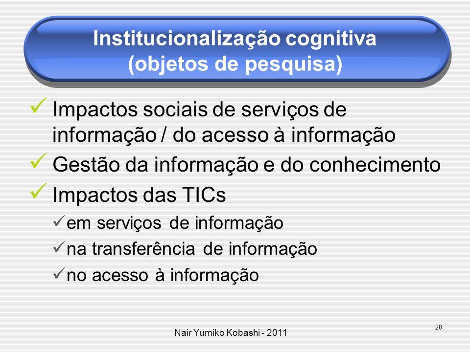 Nair Yumiko Kobashi - 2011 Avaliação de dispositivos e serviços (portais, bibliotecas digitais, etc.) Políticas de informação Padronização de produtos digitais modelagem de dados metadados Perfil profissional formação do PI Informação para tomada de decisão 29