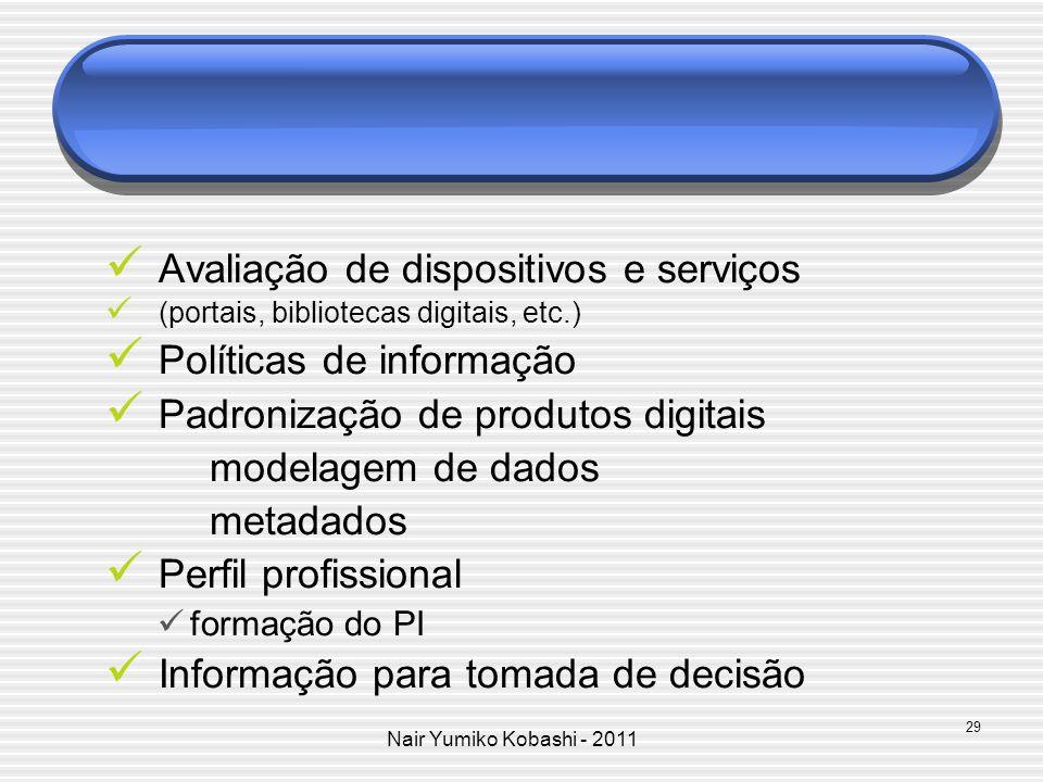 Nair Yumiko Kobashi - 2011 Avaliação de dispositivos e serviços (portais, bibliotecas digitais, etc.) Políticas de informação Padronização de produtos