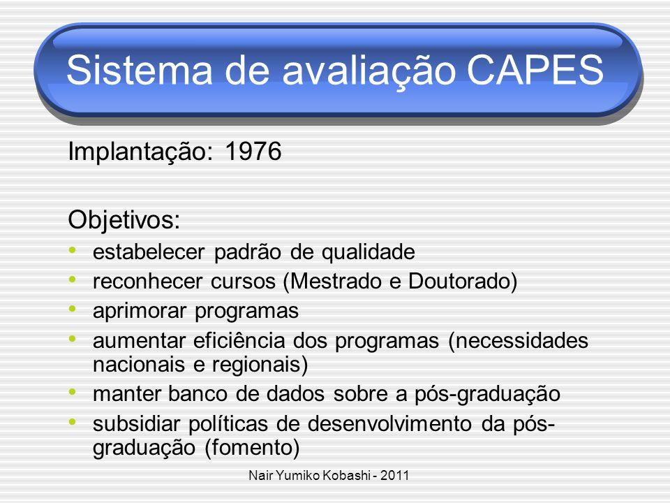 Nair Yumiko Kobashi - 2011 Sistema de avaliação CAPES Implantação: 1976 Objetivos: estabelecer padrão de qualidade reconhecer cursos (Mestrado e Douto