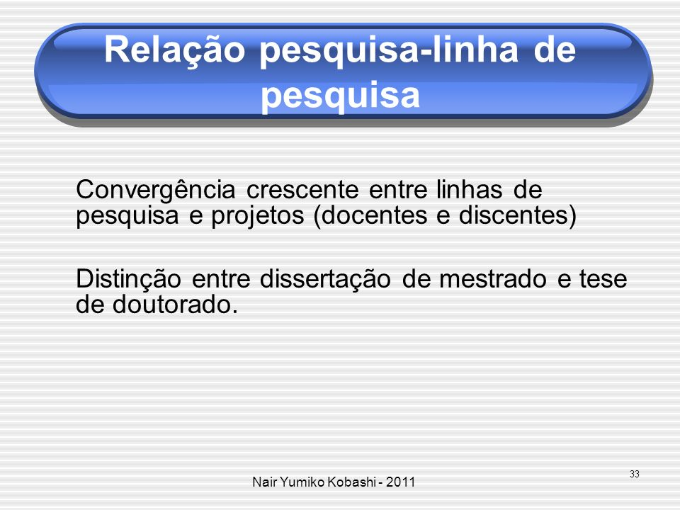 Nair Yumiko Kobashi - 2011 Relação pesquisa-linha de pesquisa Convergência crescente entre linhas de pesquisa e projetos (docentes e discentes) Distin