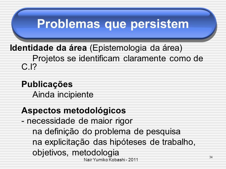 Nair Yumiko Kobashi - 2011 Problemas que persistem Identidade da área (Epistemologia da área) Projetos se identificam claramente como de C.I? Publicaç
