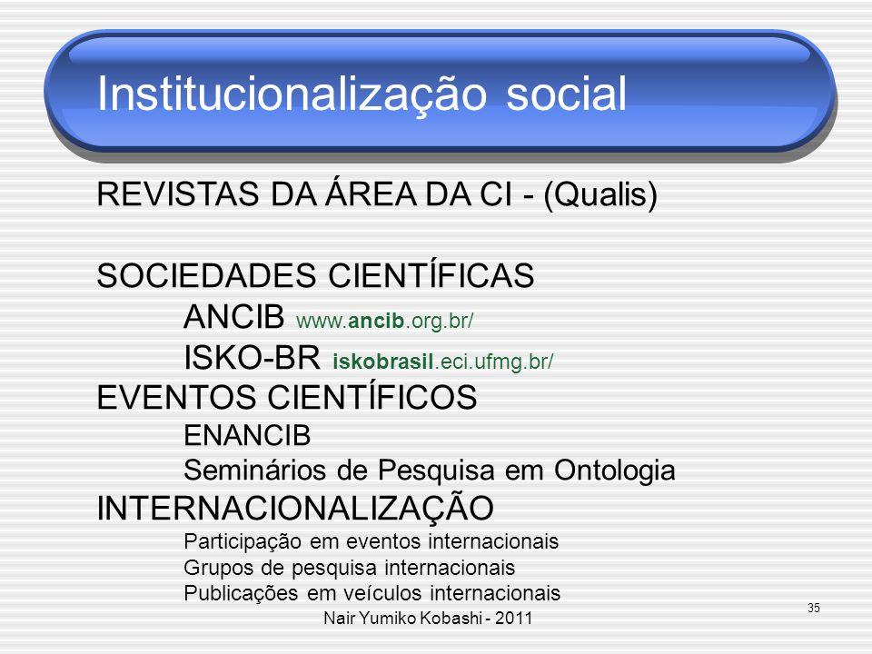Nair Yumiko Kobashi - 2011 Institucionalização social REVISTAS DA ÁREA DA CI - (Qualis) SOCIEDADES CIENTÍFICAS ANCIB www.ancib.org.br/ ISKO-BR iskobra