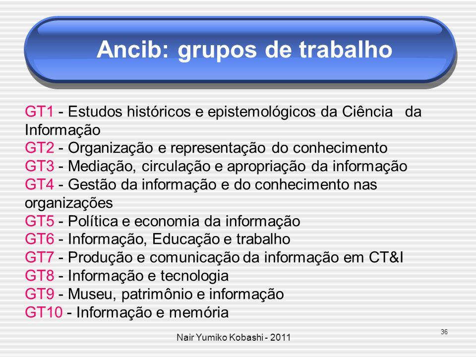 Nair Yumiko Kobashi - 2011 Ancib: grupos de trabalho GT1 - Estudos históricos e epistemológicos da Ciência da Informação GT2 - Organização e represent