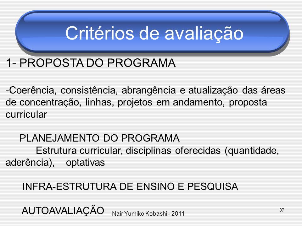 Nair Yumiko Kobashi - 2011 Critérios de avaliação 1- PROPOSTA DO PROGRAMA -Coerência, consistência, abrangência e atualização das áreas de concentraçã