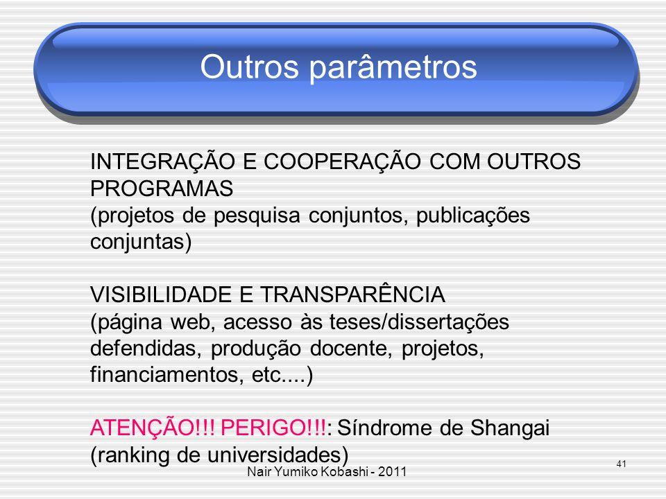 Nair Yumiko Kobashi - 2011 Outros parâmetros INTEGRAÇÃO E COOPERAÇÃO COM OUTROS PROGRAMAS (projetos de pesquisa conjuntos, publicações conjuntas) VISI