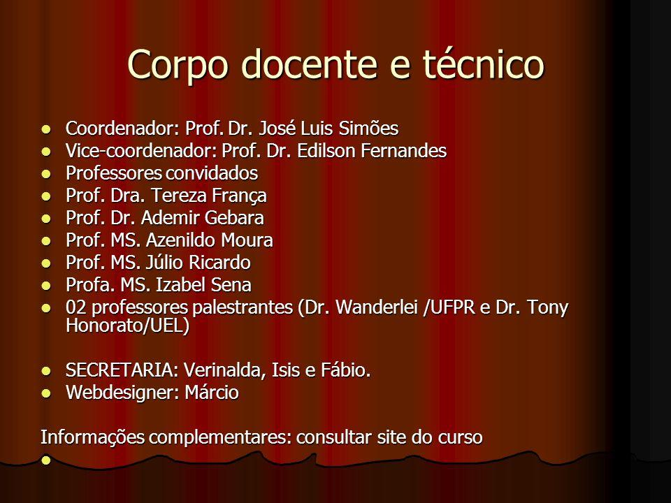 Corpo docente e técnico Coordenador: Prof. Dr. José Luis Simões Coordenador: Prof. Dr. José Luis Simões Vice-coordenador: Prof. Dr. Edilson Fernandes